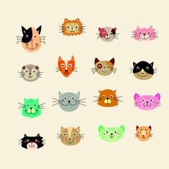 cute kitten face cartoon vector collection
