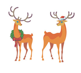 Reindeer Christmas icon. Moving deer