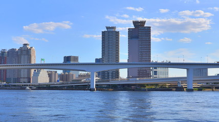 View of Tokyo Bay with Rainbow Bridge, Japan
