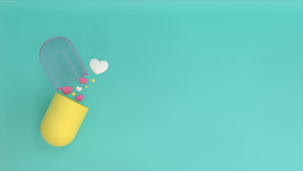 turns on capsule heart valentines day, live together love colorful picture for copy space minimal object concept pastel colorful lovely picture art 3D illustration Fototapete
