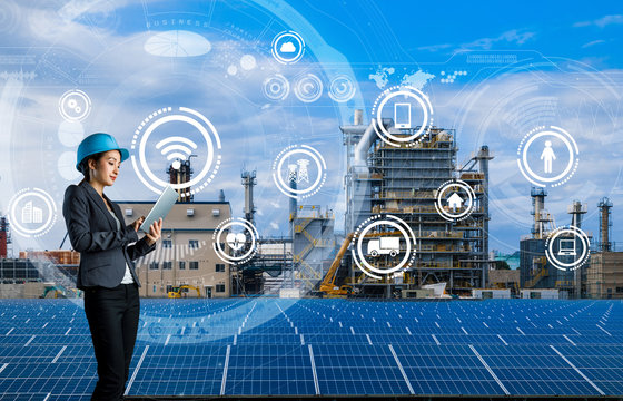 Smart factory concept. Internet of Things. Information Communication Technology. Renewable energy.