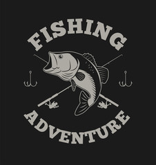 Fishing adventure with bass fish and fishing rod illustration for t shirt and other uses