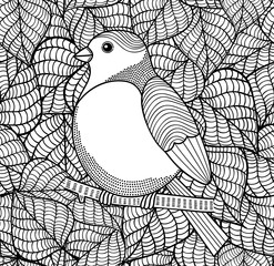 Doodle bird on black and white background with leaves.