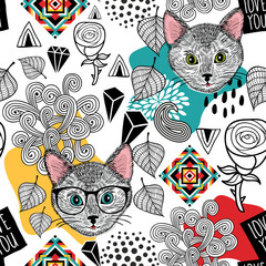 Cute animals seamless pattern.