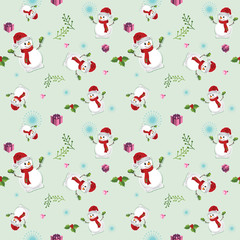 Seamless pattern with cute snowman