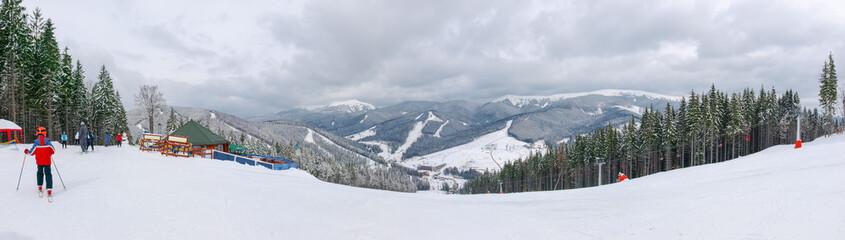 Panorama of a ski resort in Carpathians, Ukraine