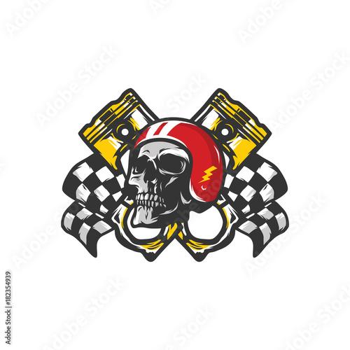 Skull Ghost Rider Head Road Vector Workshop Tool Logo Illustration