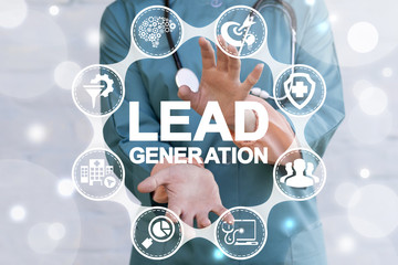 Lead Generation Health Care concept. Doctor using virtual interface offers lead generation text icon. Medical Generate Leads.