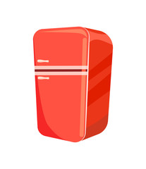 Red refrigerator isolated vector icon
