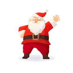 Christmas vector illustration. Funny cartoon Santa Claus with red hat waving his hand and greeting