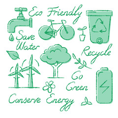 Set of ecology icons and lettering in sketch style