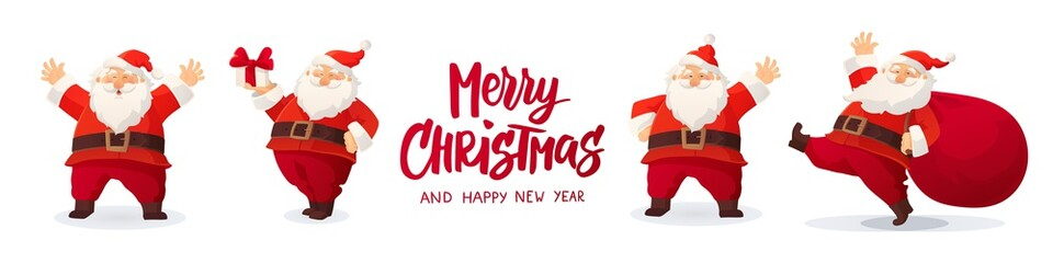 Set of cartoon Christmas illustrations isolated on white. Funny happy Santa Claus character with gift, bag with presents, waving and greeting. Wall mural