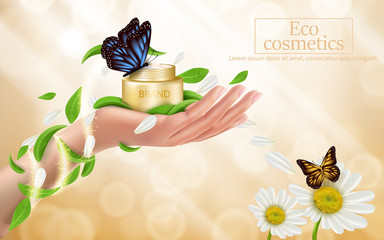 Advertising poster with perfect cosmetic product in open golden box lying on woman hand, bright background with golden sparkling sequins, flowers, green leaves and butterflies. Vector realistic design