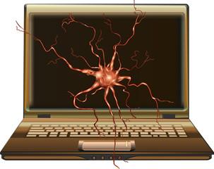 The laptop science molecular physics neural network illustration vector