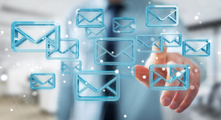 Businessman holding and touching floating emails 3D rendering