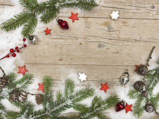 different Christmas backgrounds on wood with different christmas decoration