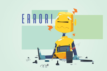 Broken Robot Showing Error Concept Illustration
