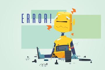 Broken Robot Showing Error Concept Illustration
