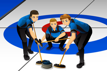 Curling Athletes Competing Illustration