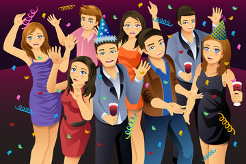 Young People Having New Year Party Illustration