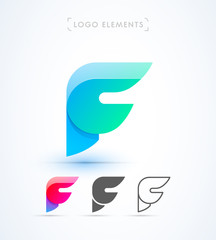 Vector abstract origami letter F logo design template. Material design, flat and line-art style. Application icon