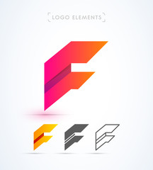 Vector abstract futuristic origami letter F logo design template. Material design, flat and line-art style. Application icon