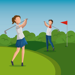 golf player doing a swing on the field vector illustration graphic design