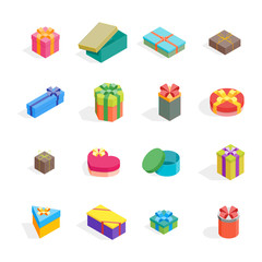 Cartoon Present Boxes Color Icon Set. Vector