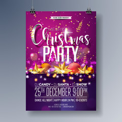 Vector Merry Christmas Party Flyer Illustration with Holiday Typography Elements and Ornamental Balls, Cutout Paper Star, Light Garland on Shiny Background. Celebration Poster Design. EPS10.