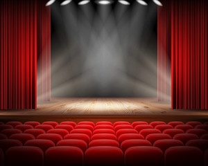 Keuken foto achterwand Theater Open red curtain and empty illuminated theatrical scene realistic vector illustration. Grand opening concept, performance or event premiere poster, announcement banner template with theater stage