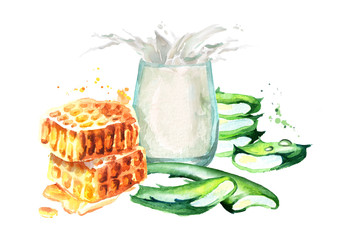 Aloe Vera with honey and glass of milk. Watercolor hand drawn illustration