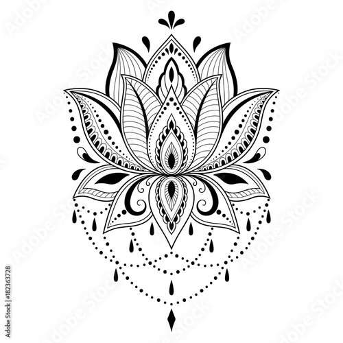 Henna tattoo flower template in indian style ethnic floral paisley henna tattoo flower template in indian style ethnic floral paisley lotus mehndi style mightylinksfo