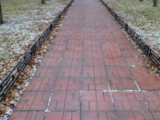 a path of red tiles with a fence