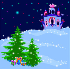 Ice Royal Palace in magic winter illustration, vector