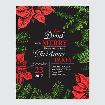 Invitation card for a Christmas party. Design template with xmas hand-drawn graphic illustrations. Greeting card with the New Year and Christmas holidays.