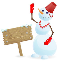 Illustration of winter holiday smiling snowman with wooden banner on a white background isolated