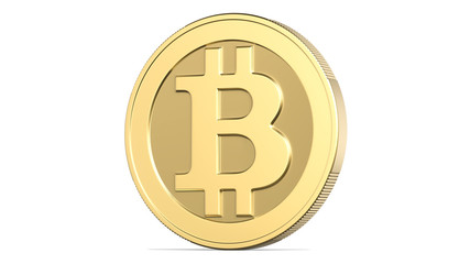 Face of the cryptocurrency golden bitcoin, 3d rendering isolated on white background. 3d illustration, concept of virtual international currency and business on the Internet.