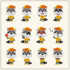 Collection of isolated raccoon in clothes and cap. Set of raccoon little boy in cartoon style.