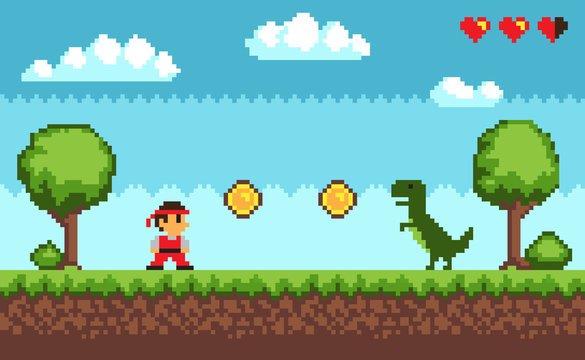 Old Style Pixel Game on Vector Illustration Blue