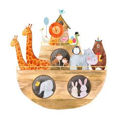 Fototapete - Watercolor baby Noah s Ark