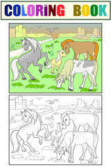 Children coloring cartoon horses grazing on meadow vector