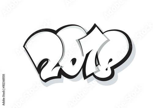 2018 lettering isolated on white  Greeting card design with funny
