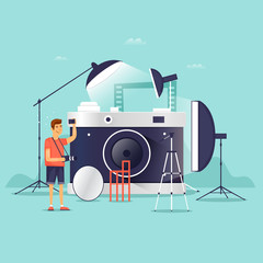 Photographer, photo studio. Flat design vector illustration.