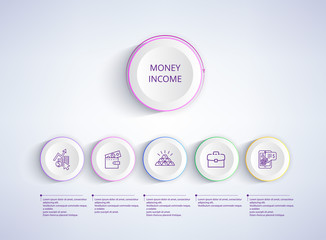 Money Income with Icons on Vector Illustration