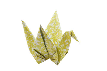 Yellow origami bird (Origami Crane) isolated on white background.Saved with clipping path.