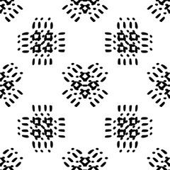 Black and White  Hand Drawn Seamless Ethnic Pattern