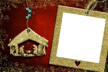 Photo frame Christmas cards, Nativity Scene