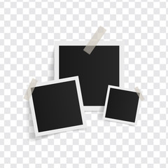 Wall Mural - Square photo frames on sticky tape on a transparent background. Vector illustration.