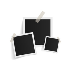 Wall Mural - Square photo frames on sticky tape on white background. Vector illustration.