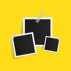 Wall Mural - Square photo frames on sticky tape on yellow background. Vector illustration.